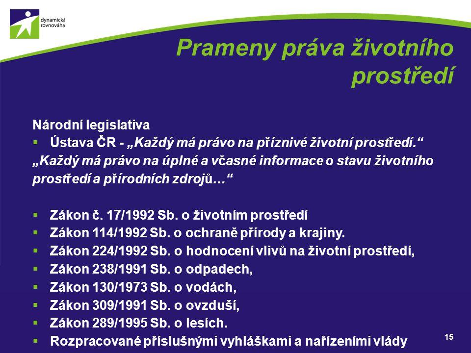 """Prameny práva životního prostředí Národní legislativa  Ústava ČR - """"Každý má právo na příznivé životní prostředí."""" """"Každý má právo na úplné a včasné"""