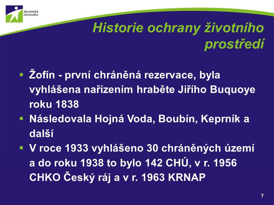 Historie ochrany životního prostředí  Žofín - první chráněná rezervace, byla vyhlášena nařízením hraběte Jiřího Buquoye roku 1838  Následovala Hojná