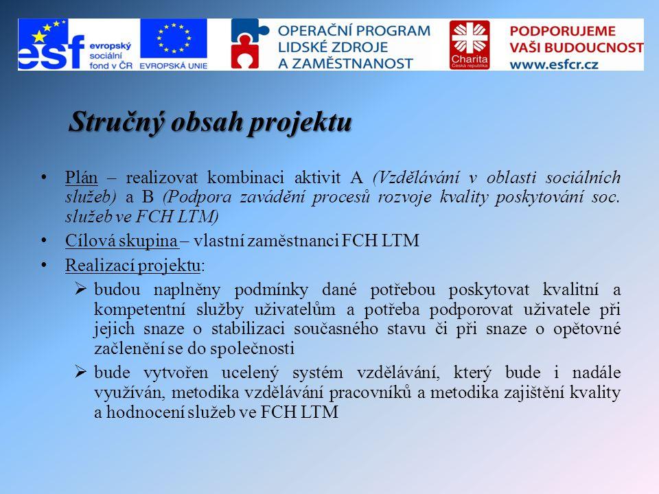 Shrnující popis realizace projektu • Realizace projektu probíhala až na drobné změny dle harmonogramu, a to formou plánování termínů vzdělávacích kurzů a plánováním rozpisu účasti pracovníků na jednotlivých vzdělávacích modulech, zajištěním realizace těchto kurzů a plánováním auditu kvality a následných podpůrných konzultací ve střediscích FCH LTM • Nezbytnou součástí realizace projektu byly společné porady týmu, zpracování podkladů ke sledování stanovených MI a sledování a evidence dílčích MI.