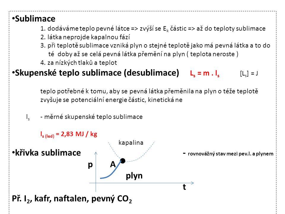 • Sublimace 1. dodáváme teplo pevné látce => zvýší se E k částic => až do teploty sublimace 2. látka neprojde kapalnou fází 3. při teplotě sublimace v