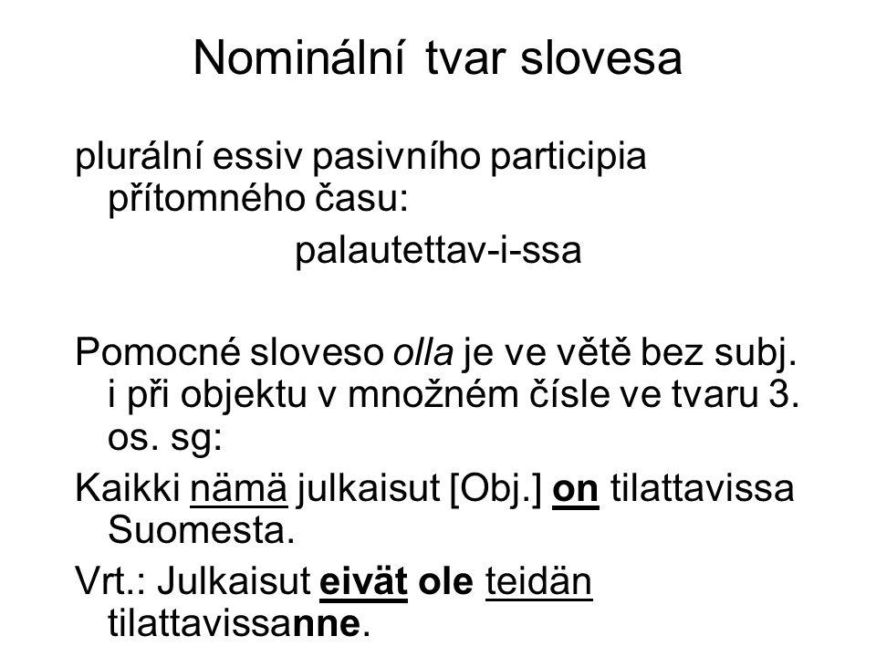 Nominální tvar slovesa plurální essiv pasivního participia přítomného času: palautettav-i-ssa Pomocné sloveso olla je ve větě bez subj.