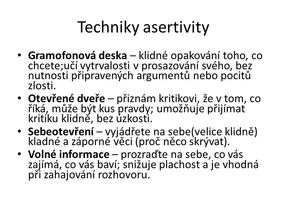 Techniky asertivity • Gramofonová deska – klidné opakování toho, co chcete;učí vytrvalosti v prosazování svého, bez nutnosti připravených argumentů ne