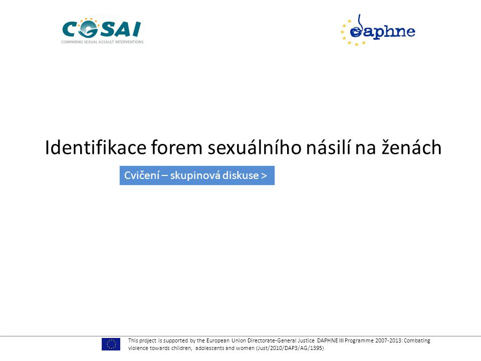 Identifikace forem sexuálního násilí na ženách This project is supported by the European Union Directorate-General Justice DAPHNE III Programme 2007-2