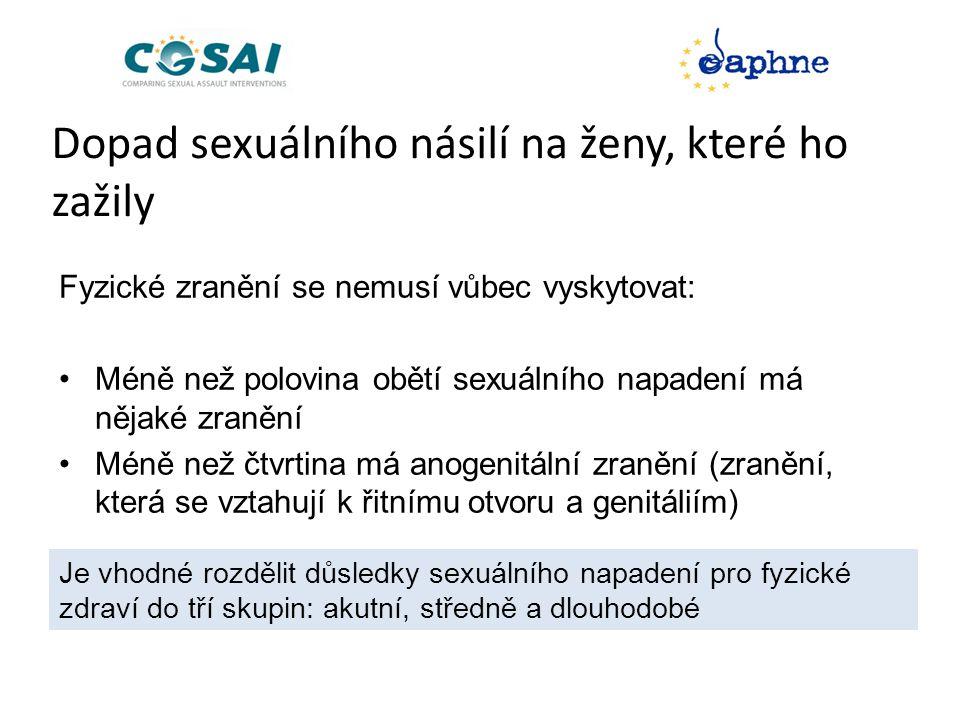 Dopad sexuálního násilí na ženy, které ho zažily Fyzické zranění se nemusí vůbec vyskytovat: •Méně než polovina obětí sexuálního napadení má nějaké zranění •Méně než čtvrtina má anogenitální zranění (zranění, která se vztahují k řitnímu otvoru a genitáliím) Je vhodné rozdělit důsledky sexuálního napadení pro fyzické zdraví do tří skupin: akutní, středně a dlouhodobé