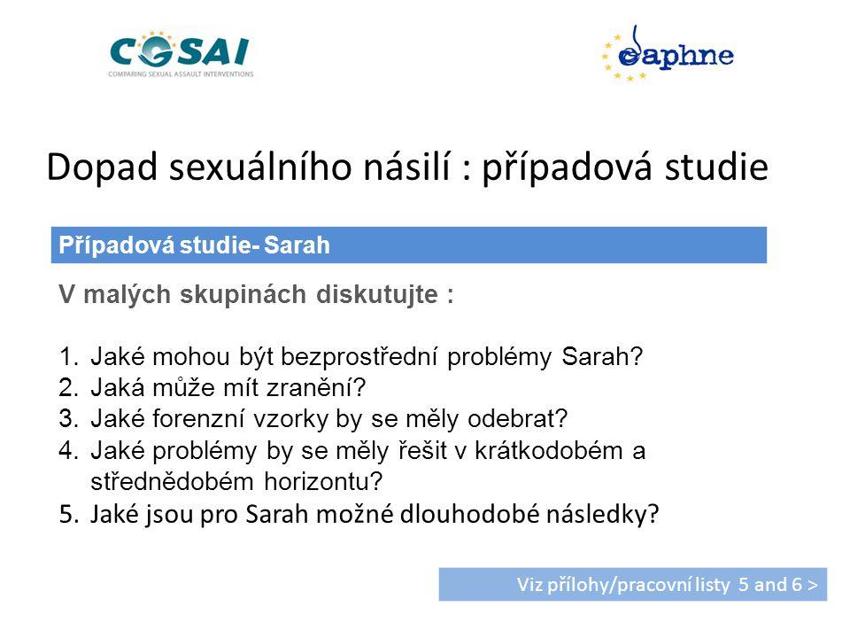 Dopad sexuálního násilí : případová studie Případová studie- Sarah Viz přílohy/pracovní listy 5 and 6 > V malých skupinách diskutujte : 1.Jaké mohou být bezprostřední problémy Sarah.
