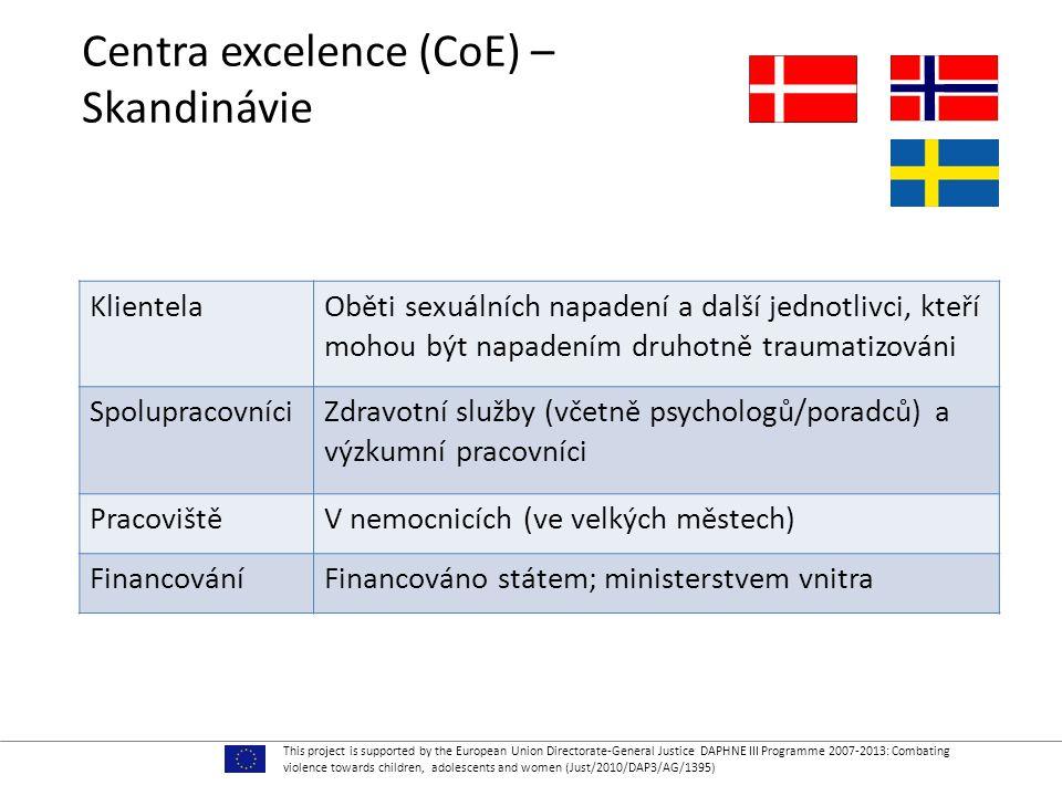 Centra excelence (CoE) – Skandinávie KlientelaOběti sexuálních napadení a další jednotlivci, kteří mohou být napadením druhotně traumatizováni SpolupracovníciZdravotní služby (včetně psychologů/poradců) a výzkumní pracovníci PracovištěV nemocnicích (ve velkých městech) FinancováníFinancováno státem; ministerstvem vnitra This project is supported by the European Union Directorate-General Justice DAPHNE III Programme 2007-2013: Combating violence towards children, adolescents and women (Just/2010/DAP3/AG/1395)