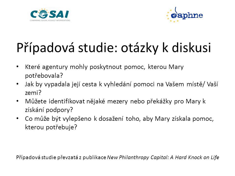 Případová studie: otázky k diskusi • Které agentury mohly poskytnout pomoc, kterou Mary potřebovala.