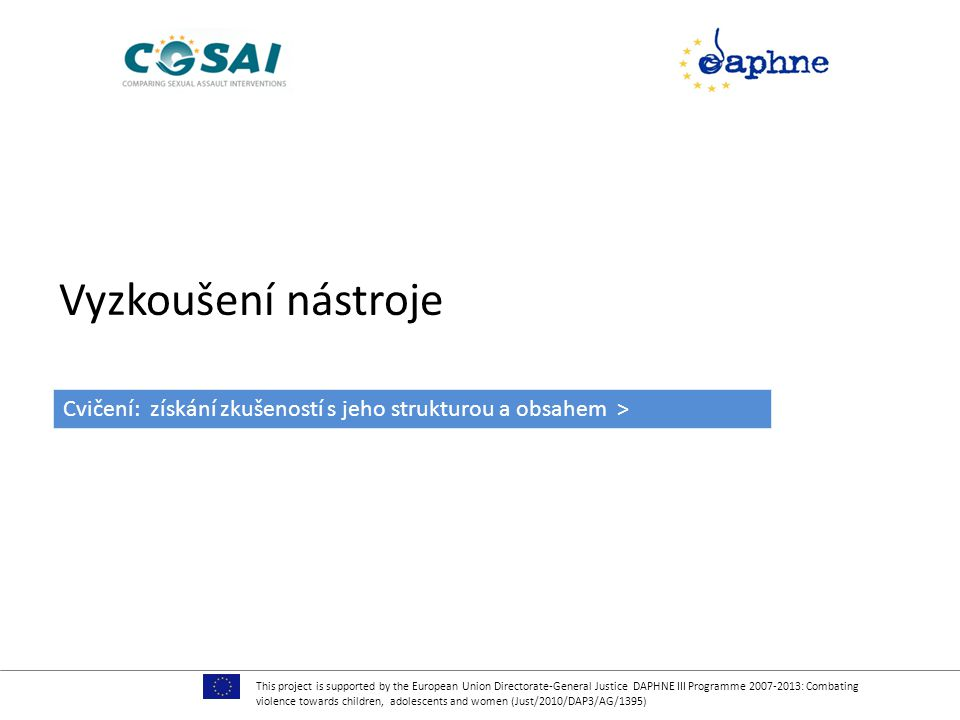 Vyzkoušení nástroje This project is supported by the European Union Directorate-General Justice DAPHNE III Programme 2007-2013: Combating violence tow