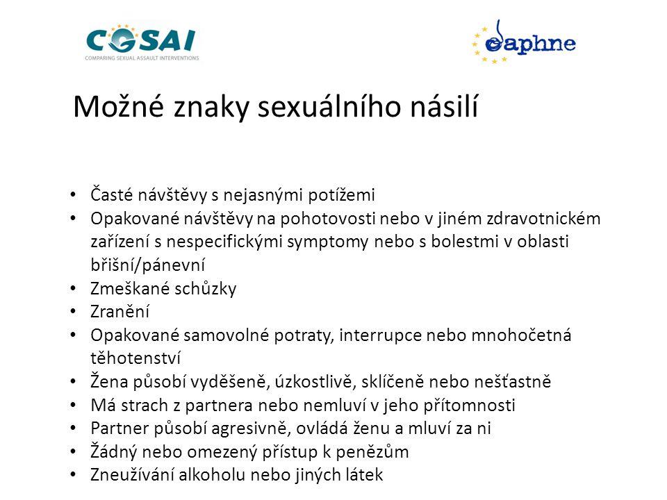 Možné znaky sexuálního násilí • Časté návštěvy s nejasnými potížemi • Opakované návštěvy na pohotovosti nebo v jiném zdravotnickém zařízení s nespecifickými symptomy nebo s bolestmi v oblasti břišní/pánevní • Zmeškané schůzky • Zranění • Opakované samovolné potraty, interrupce nebo mnohočetná těhotenství • Žena působí vyděšeně, úzkostlivě, sklíčeně nebo nešťastně • Má strach z partnera nebo nemluví v jeho přítomnosti • Partner působí agresivně, ovládá ženu a mluví za ni • Žádný nebo omezený přístup k penězům • Zneužívání alkoholu nebo jiných látek