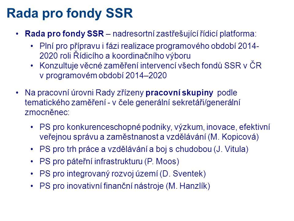 Rada pro fondy SSR •Rada pro fondy SSR – nadresortní zastřešující řídicí platforma: •Plní pro přípravu i fázi realizace programového období 2014- 2020