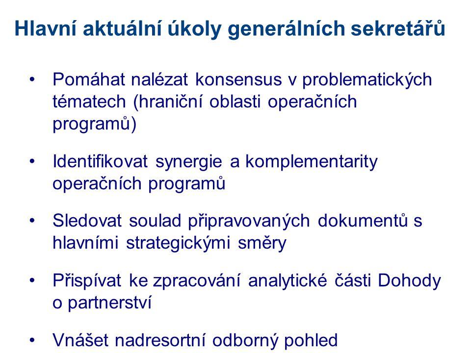 Hlavní aktuální úkoly generálních sekretářů •Pomáhat nalézat konsensus v problematických tématech (hraniční oblasti operačních programů) •Identifikova