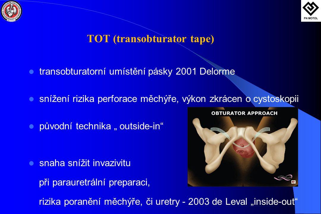 """TOT (transobturator tape)  transobturatorní umístění pásky 2001 Delorme  snížení rizika perforace měchýře, výkon zkrácen o cystoskopii  původní technika """" outside-in  snaha snížit invazivitu při parauretrální preparaci, rizika poranění měchýře, či uretry - 2003 de Leval """"inside-out"""