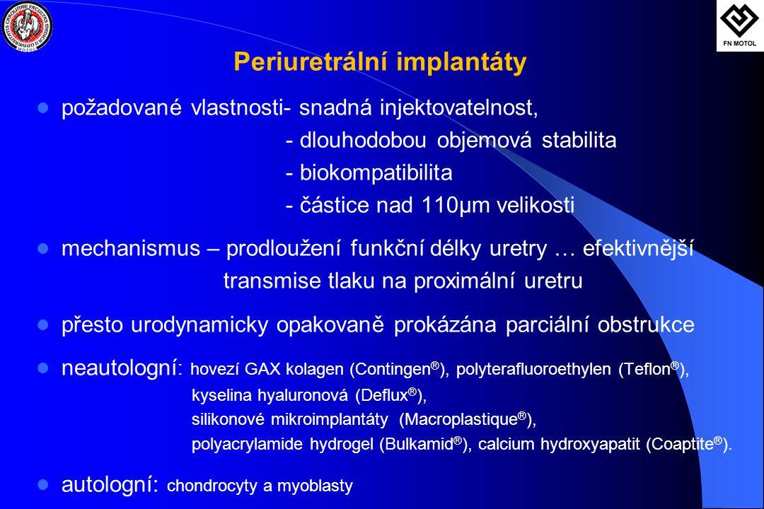 Periuretrální implantáty  požadované vlastnosti- snadná injektovatelnost, - dlouhodobou objemová stabilita - biokompatibilita - částice nad 110μm velikosti  mechanismus – prodloužení funkční délky uretry … efektivnější transmise tlaku na proximální uretru  přesto urodynamicky opakovaně prokázána parciální obstrukce  neautologní : hovezí GAX kolagen (Contingen ® ), polyterafluoroethylen (Teflon ® ), kyselina hyaluronová (Deflux ® ), silikonové mikroimplantáty (Macroplastique ® ), polyacrylamide hydrogel (Bulkamid ® ), calcium hydroxyapatit (Coaptite ® ).