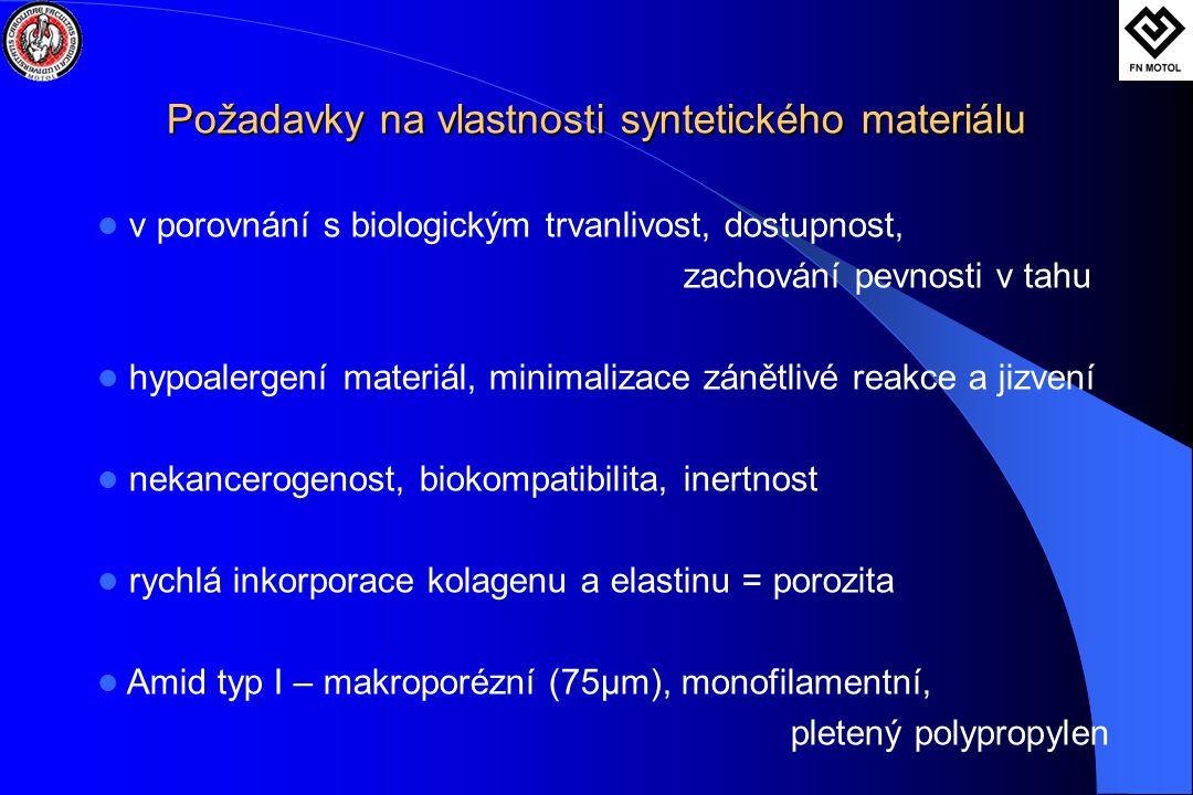 Požadavky na vlastnosti syntetického materiálu Požadavky na vlastnosti syntetického materiálu  v porovnání s biologickým trvanlivost, dostupnost, zachování pevnosti v tahu  hypoalergení materiál, minimalizace zánětlivé reakce a jizvení  nekancerogenost, biokompatibilita, inertnost  rychlá inkorporace kolagenu a elastinu = porozita  Amid typ I – makroporézní (75μm), monofilamentní, pletený polypropylen