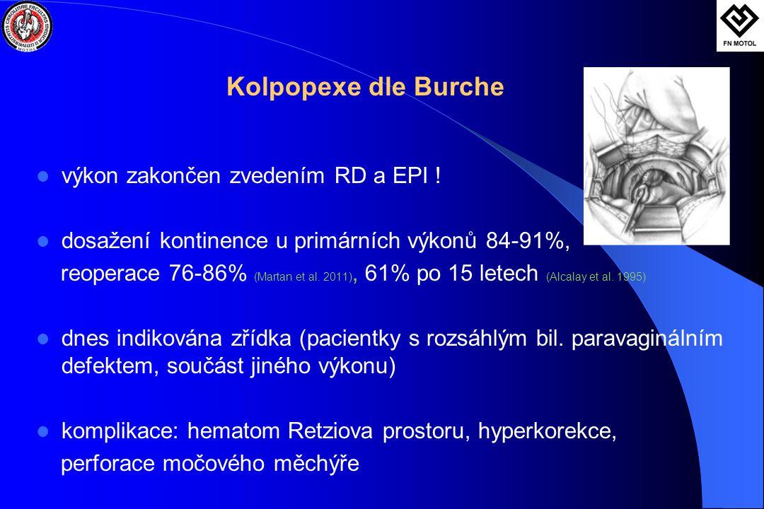 Kolpopexe dle Burche  výkon zakončen zvedením RD a EPI !  dosažení kontinence u primárních výkonů 84-91%, reoperace 76-86% (Martan et al. 2011), 61%