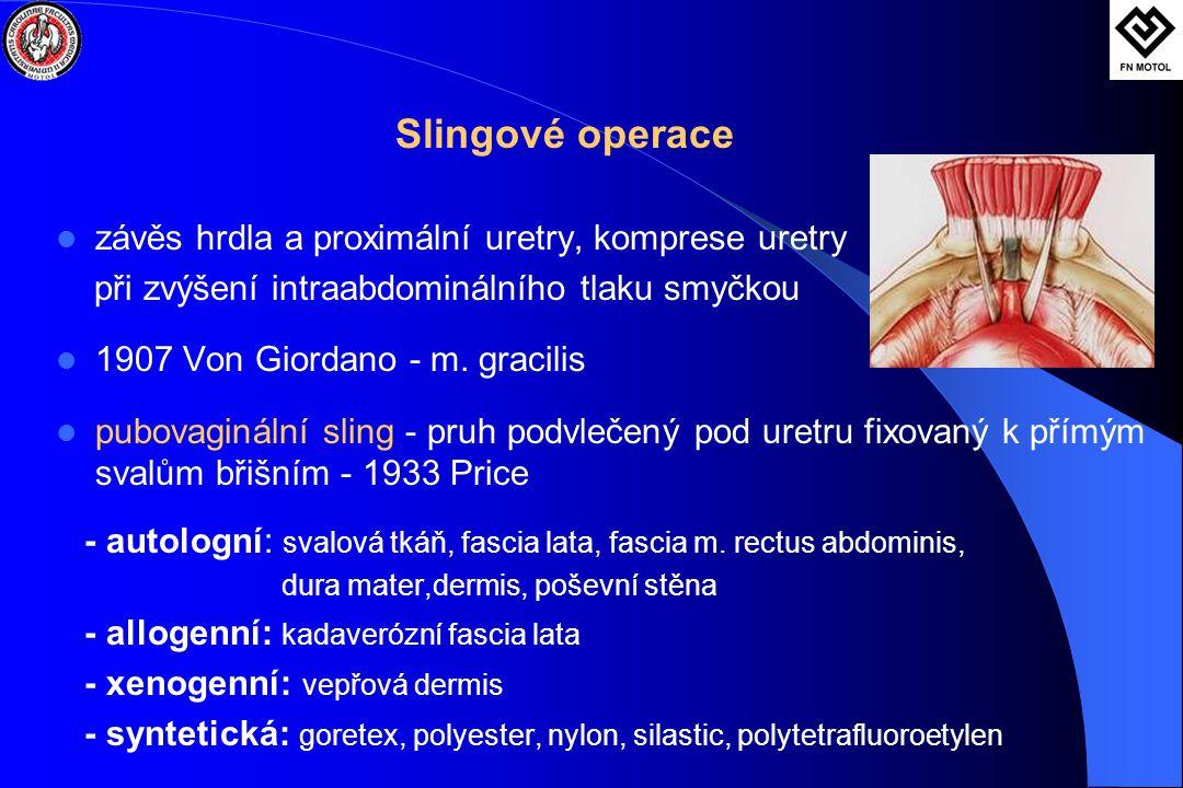 Slingové operace  závěs hrdla a proximální uretry, komprese uretry při zvýšení intraabdominálního tlaku smyčkou  1907 Von Giordano - m. gracilis  p