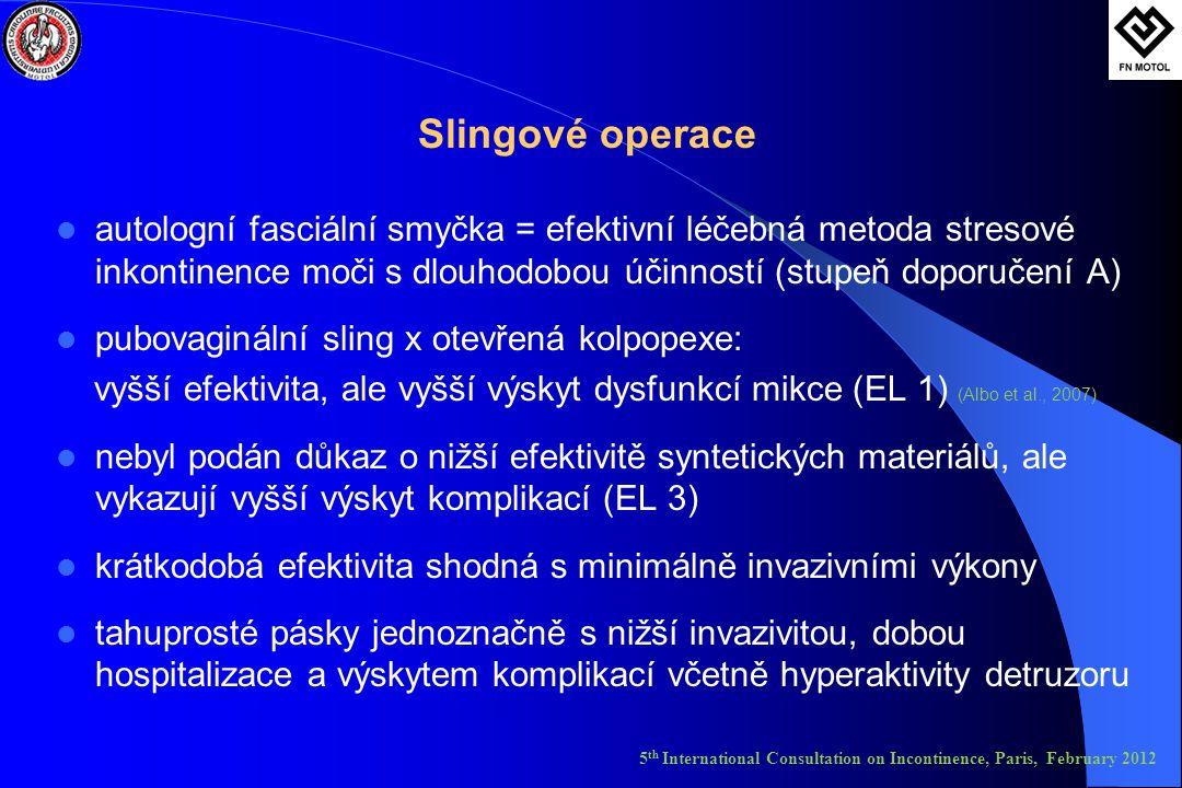 Slingové operace  autologní fasciální smyčka = efektivní léčebná metoda stresové inkontinence moči s dlouhodobou účinností (stupeň doporučení A)  pubovaginální sling x otevřená kolpopexe: vyšší efektivita, ale vyšší výskyt dysfunkcí mikce (EL 1) (Albo et al., 2007)  nebyl podán důkaz o nižší efektivitě syntetických materiálů, ale vykazují vyšší výskyt komplikací (EL 3)  krátkodobá efektivita shodná s minimálně invazivními výkony  tahuprosté pásky jednoznačně s nižší invazivitou, dobou hospitalizace a výskytem komplikací včetně hyperaktivity detruzoru 5 th International Consultation on Incontinence, Paris, February 2012