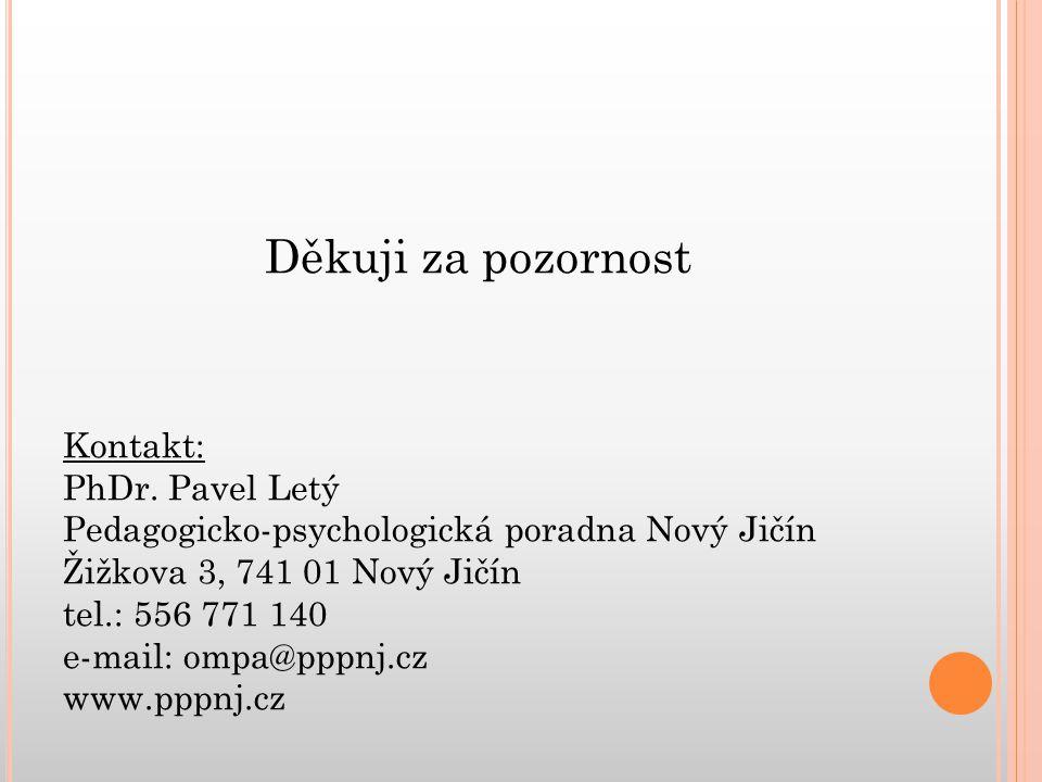 Děkuji za pozornost Kontakt: PhDr.