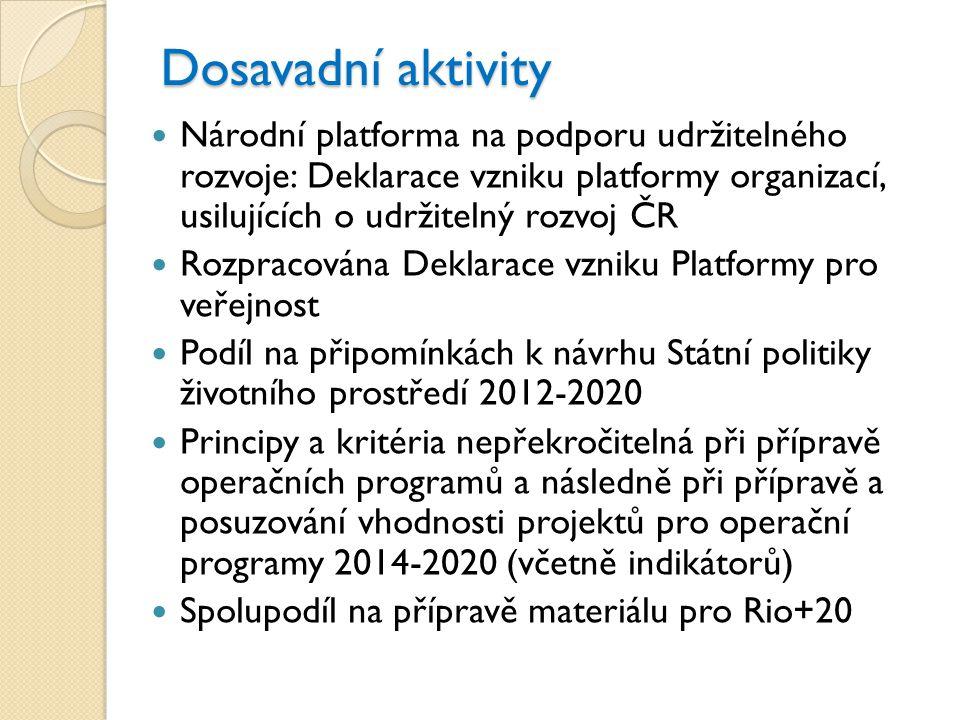 Dosavadní aktivity  Národní platforma na podporu udržitelného rozvoje: Deklarace vzniku platformy organizací, usilujících o udržitelný rozvoj ČR  Ro