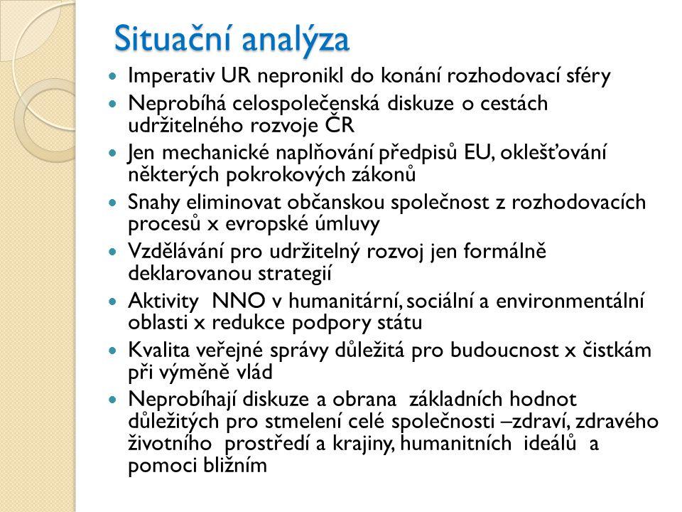 Hlavní strategický cíl  Aby základním kritériem všeho národního, regionálního, místního a osobního rozhodování a z něj vyplývajících aktivit byl jasný příspěvek k udržitelnému rozvoji ČR
