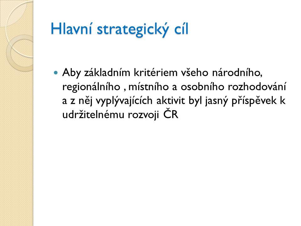 Hlavní strategický cíl  Aby základním kritériem všeho národního, regionálního, místního a osobního rozhodování a z něj vyplývajících aktivit byl jasn