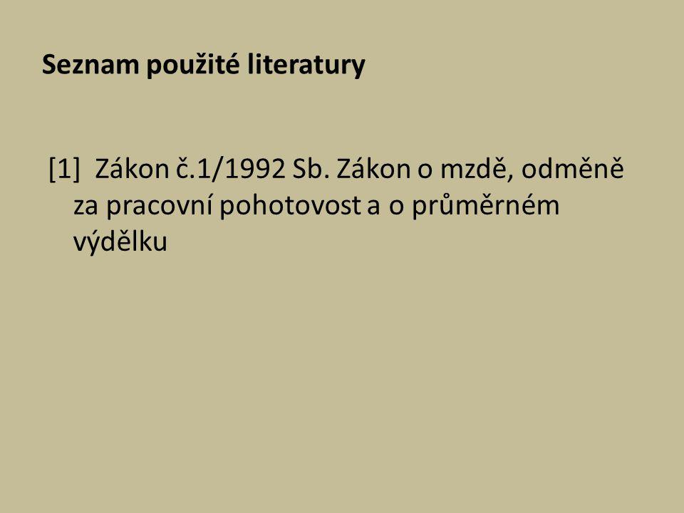 Seznam použité literatury [1] Zákon č.1/1992 Sb. Zákon o mzdě, odměně za pracovní pohotovost a o průměrném výdělku
