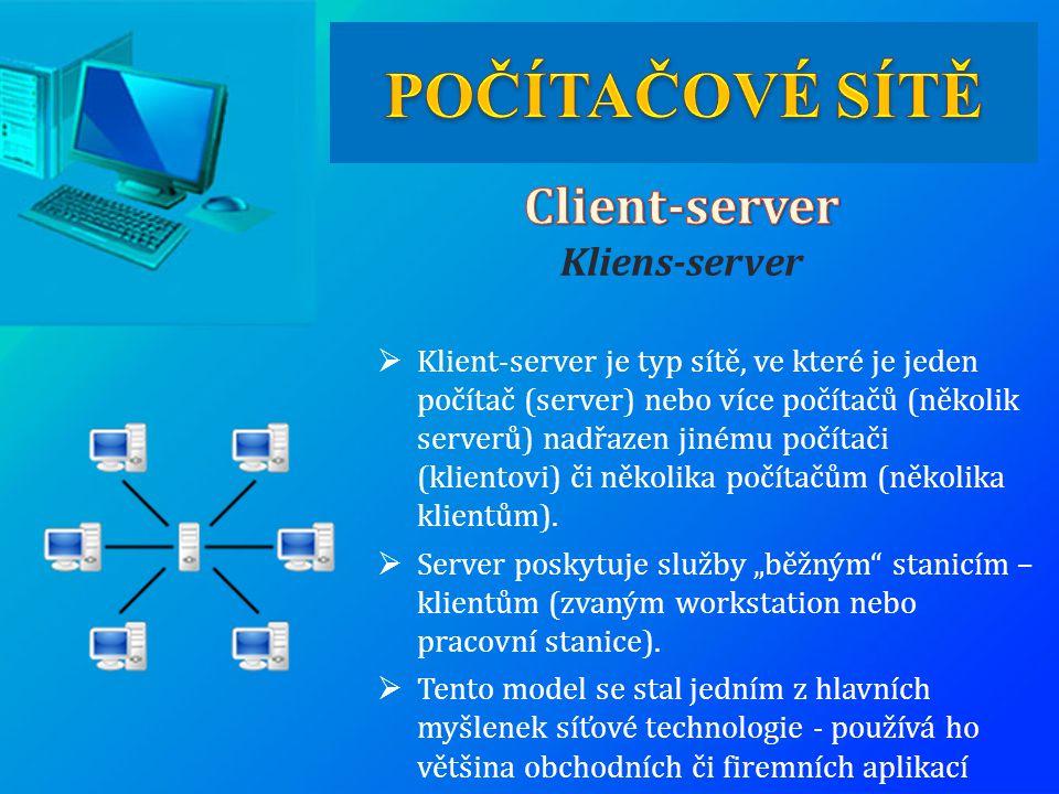  Klient-server je typ sítě, ve které je jeden počítač (server) nebo více počítačů (několik serverů) nadřazen jinému počítači (klientovi) či několika