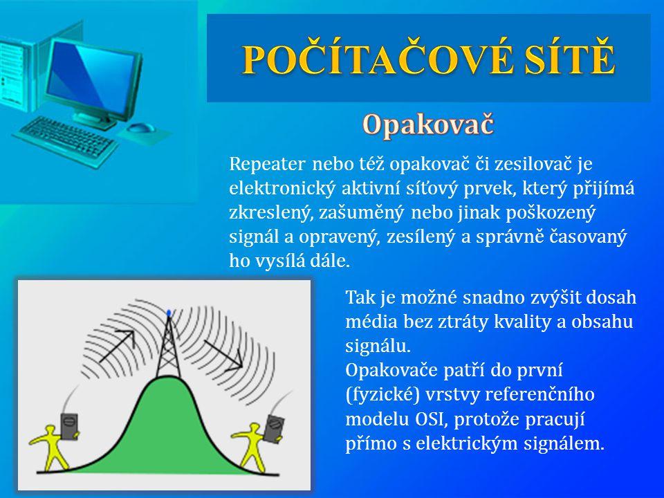 Repeater nebo též opakovač či zesilovač je elektronický aktivní síťový prvek, který přijímá zkreslený, zašuměný nebo jinak poškozený signál a opravený