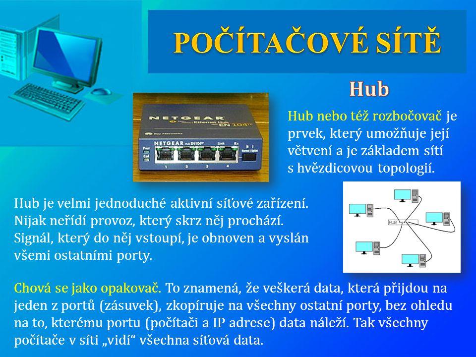 Hub nebo též rozbočovač je prvek, který umožňuje její větvení a je základem sítí s hvězdicovou topologií. Chová se jako opakovač. To znamená, že veške