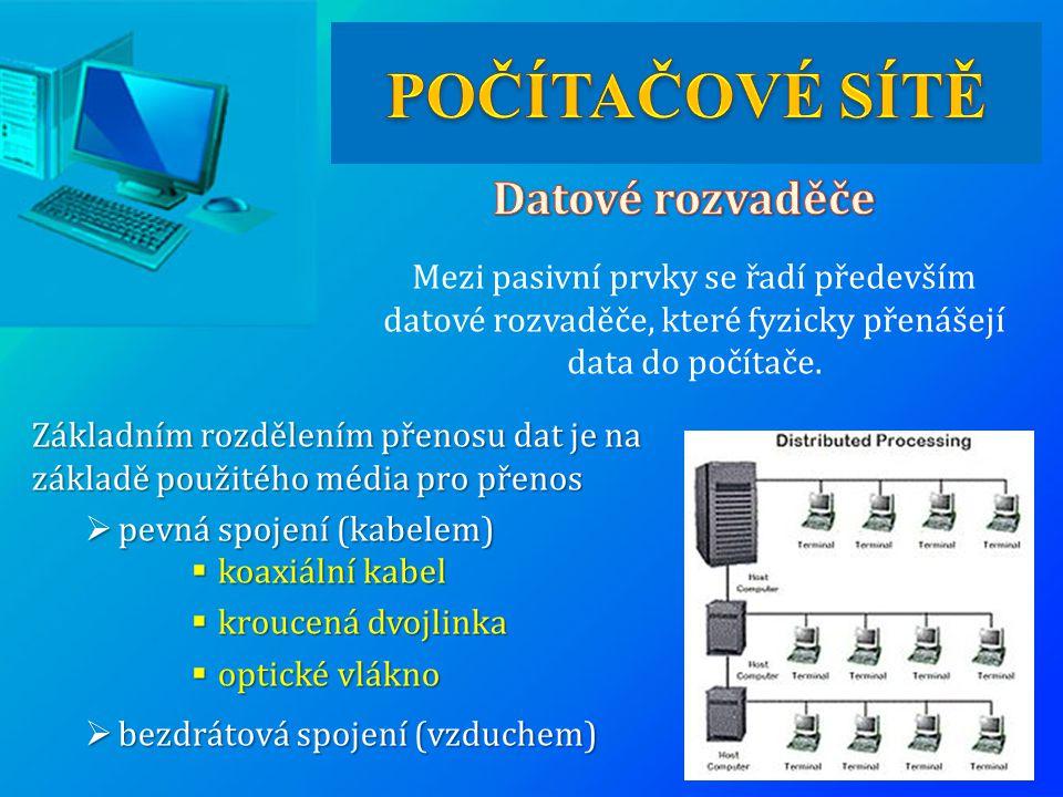 Mezi pasivní prvky se řadí především datové rozvaděče, které fyzicky přenášejí data do počítače. Základním rozdělením přenosu dat je na základě použit