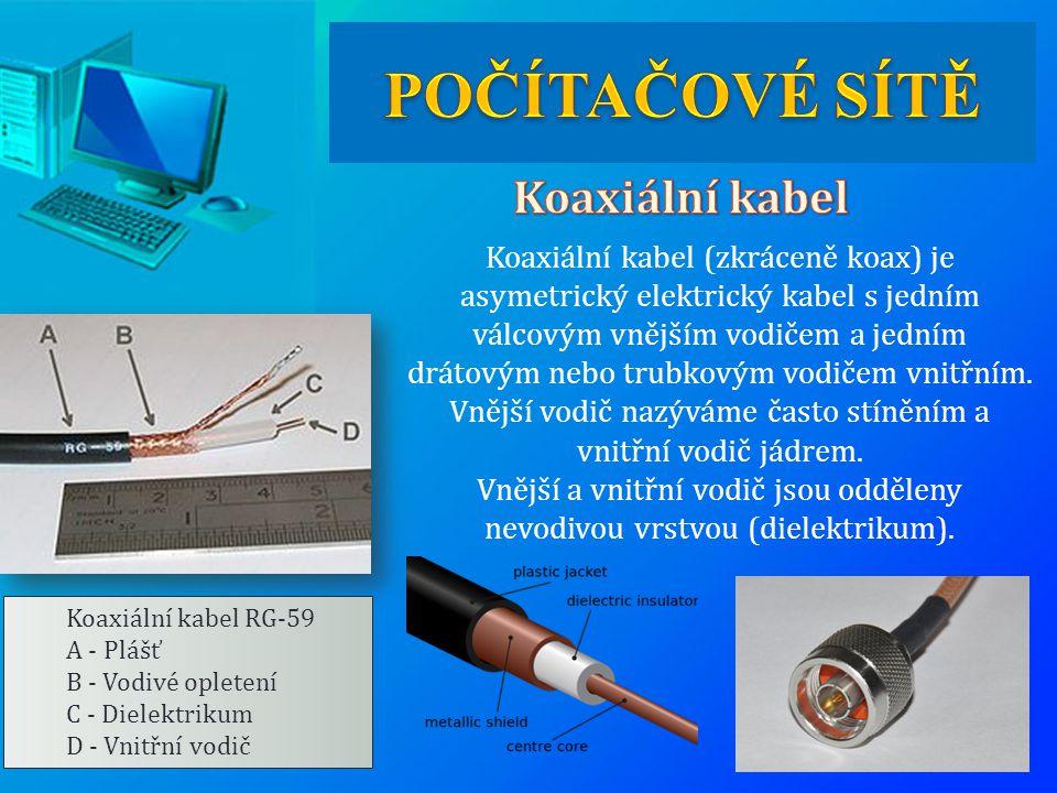 Koaxiální kabel RG-59 A - Plášť B - Vodivé opletení C - Dielektrikum D - Vnitřní vodič Koaxiální kabel (zkráceně koax) je asymetrický elektrický kabel