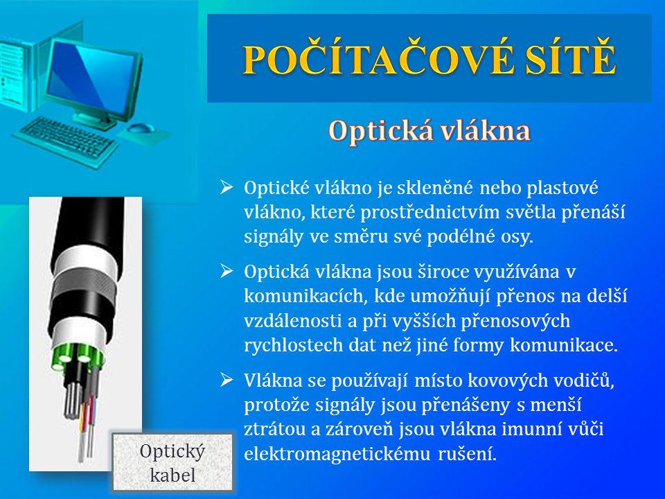  Optické vlákno je skleněné nebo plastové vlákno, které prostřednictvím světla přenáší signály ve směru své podélné osy.  Optická vlákna jsou široce