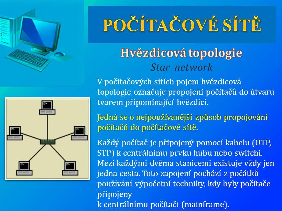 V počítačových sítích pojem hvězdicová topologie označuje propojení počítačů do útvaru tvarem připomínající hvězdici. Jedná se o nejpoužívanější způso
