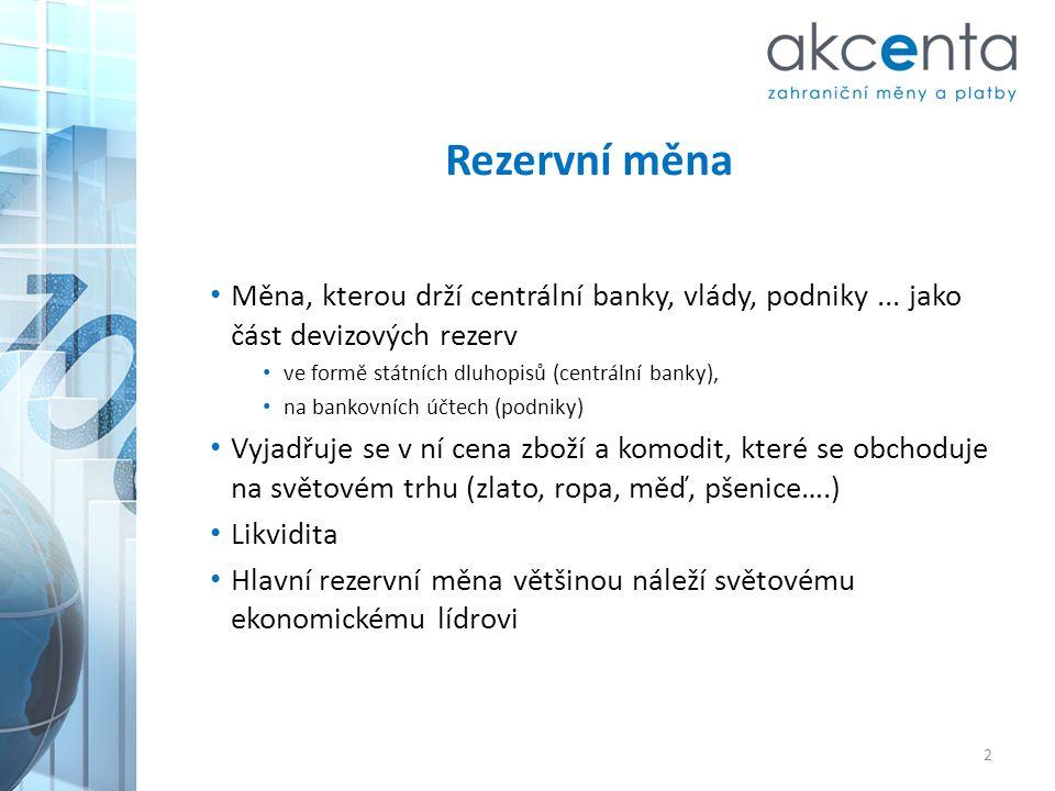 Rezervní měna • Měna, kterou drží centrální banky, vlády, podniky... jako část devizových rezerv • ve formě státních dluhopisů (centrální banky), • na