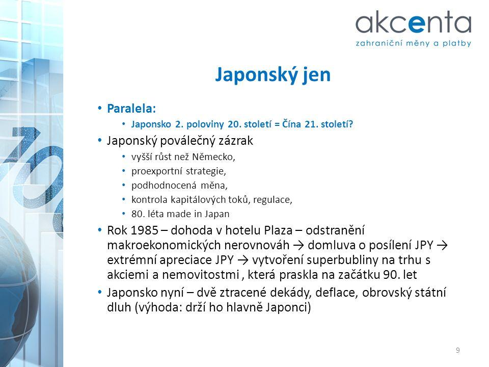 Japonský jen • Paralela: • Japonsko 2. poloviny 20. století = Čína 21. století? • Japonský poválečný zázrak • vyšší růst než Německo, • proexportní st