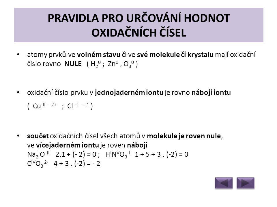 PRAVIDLA PRO URČOVÁNÍ HODNOT OXIDAČNÍCH ČÍSEL • atomy prvků ve volném stavu či ve své molekule či krystalu mají oxidační číslo rovno NULE ( H 2 0 ; Zn 0, O 3 0 ) • oxidační číslo prvku v jednojaderném iontu je rovno náboji iontu ( Cu II = 2+ ; Cl –I = -1 ) • součet oxidačních čísel všech atomů v molekule je roven nule, ve vícejaderném iontu je roven náboji Na 2 I O -II 2.1 + (- 2) = 0 ; H I N V O 3 -II 1 + 5 + 3.
