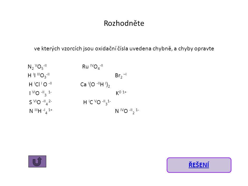 Rozhodněte ve kterých vzorcích jsou oxidační čísla uvedena chybně, a chyby opravte N 2 V O 5 -II Ru IV O 4 -II H I I III O 3 -II Br 2 –I H I Cl I O -II Ca I (O -II H I ) 2 I VI O -II 3 1- K 0 1+ S VI O -II 4 2- H I C V O -II 3 1- N III H -I 4 1+ N IV O -II 2 1- ŘEŠENÍ