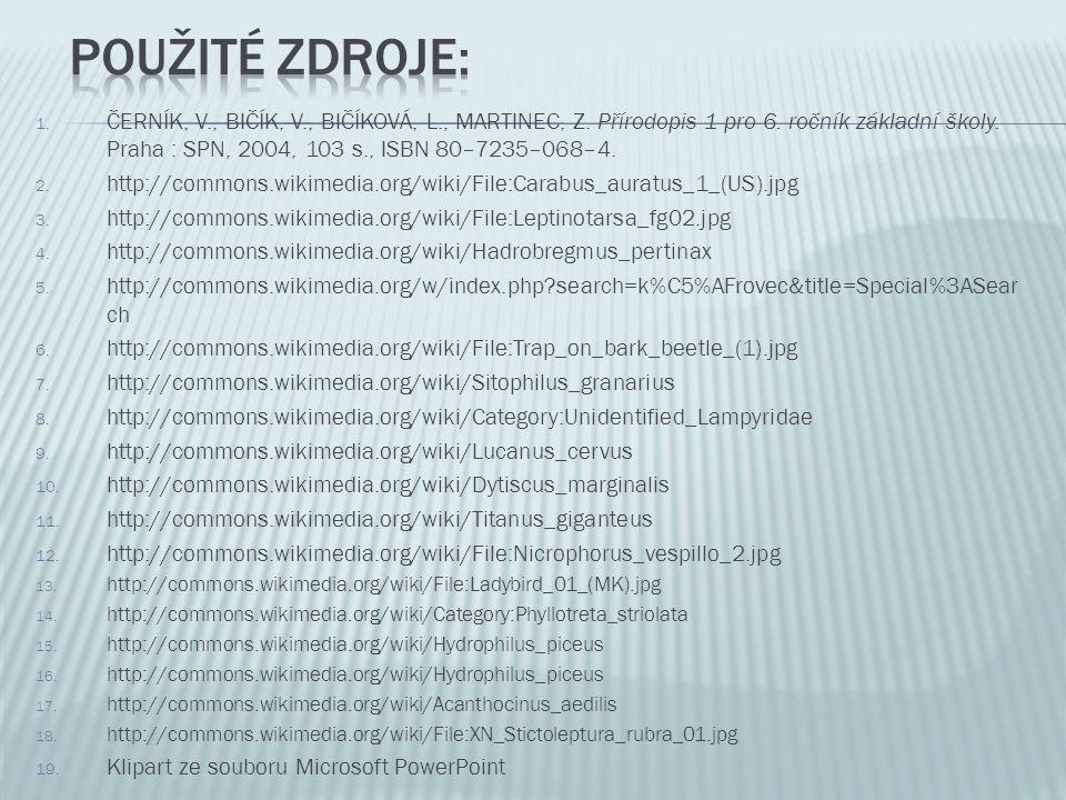 1. ČERNÍK, V., BIČÍK, V., BIČÍKOVÁ, L., MARTINEC, Z. Přírodopis 1 pro 6. ročník základní školy. Praha : SPN, 2004, 103 s., ISBN 80–7235–068–4. 2. http
