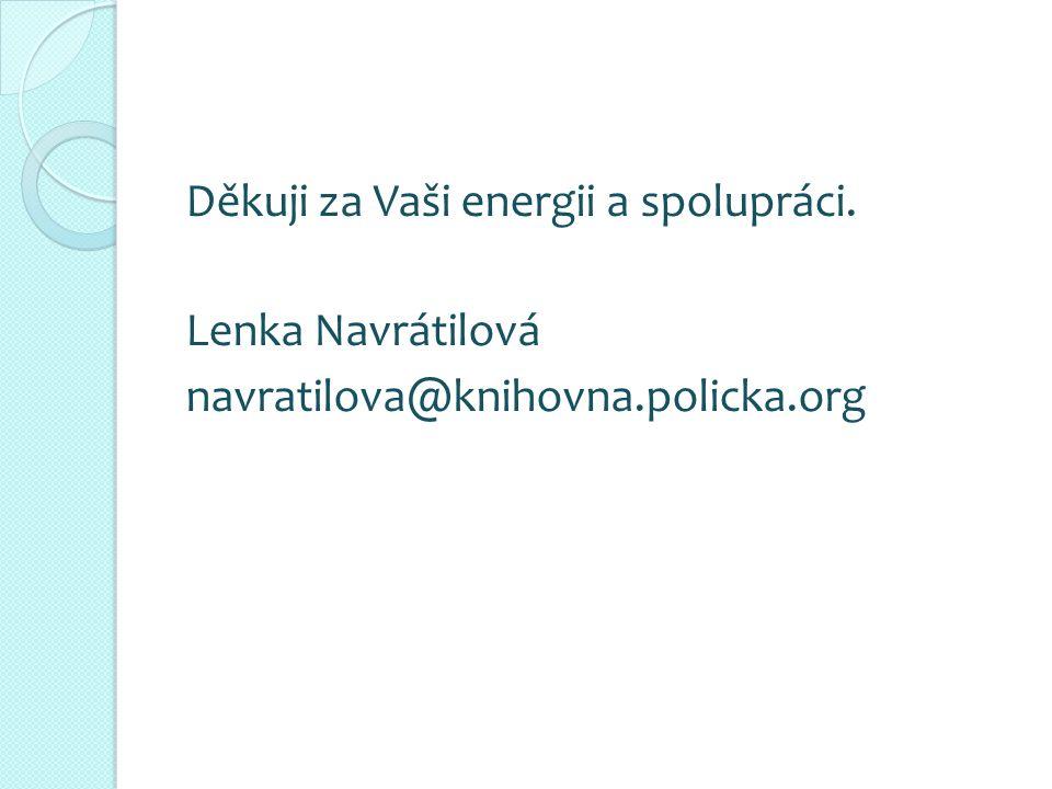 Děkuji za Vaši energii a spolupráci. Lenka Navrátilová navratilova@knihovna.policka.org