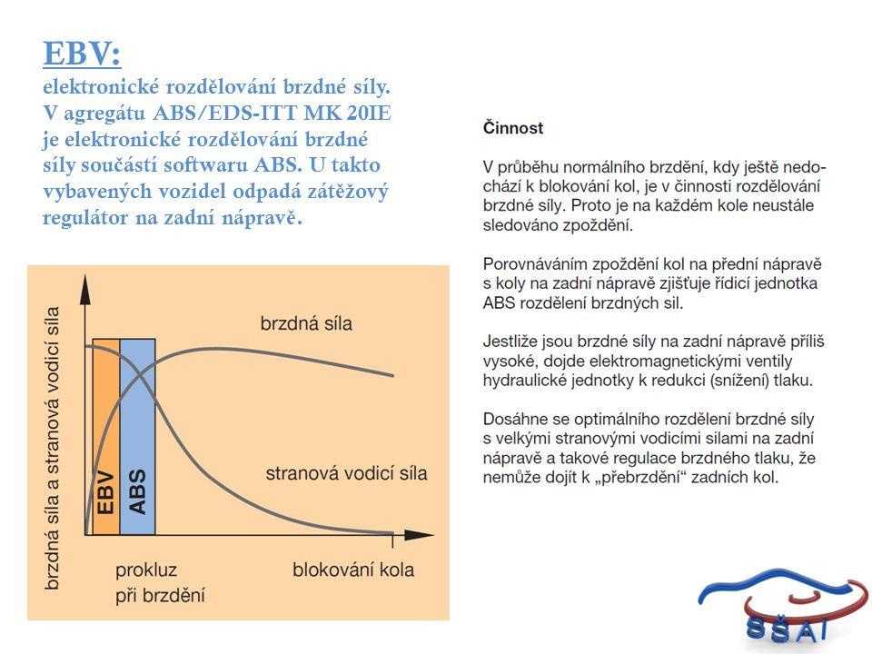 EBV: elektronické rozd ě lování brzdné síly. V agregátu ABS/EDS-ITT MK 20IE je elektronické rozd ě lování brzdné síly sou č ástí softwaru ABS. U takto