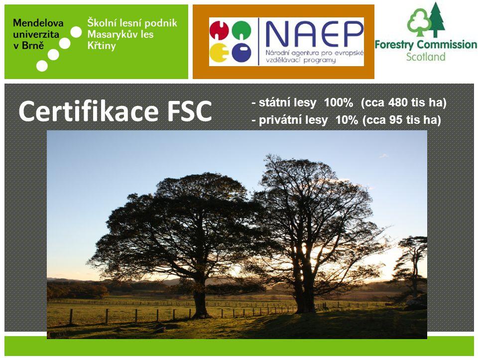 Jméno Příjmení Název prezentace - státní lesy 100% (cca 480 tis ha) - privátní lesy 10% (cca 95 tis ha) Certifikace FSC