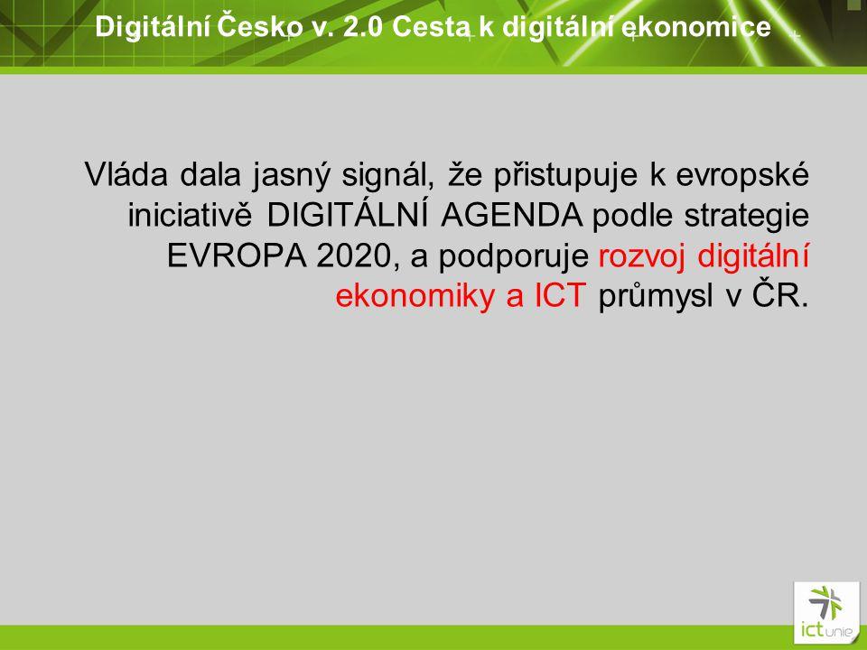 Digitální Česko v. 2.0 Cesta k digitální ekonomice Vláda dala jasný signál, že přistupuje k evropské iniciativě DIGITÁLNÍ AGENDA podle strategie EVROP