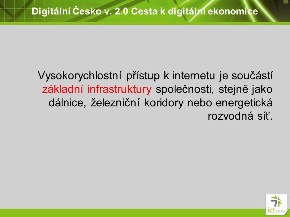 Digitální Česko v. 2.0 Cesta k digitální ekonomice Vysokorychlostní přístup k internetu je součástí základní infrastruktury společnosti, stejně jako d