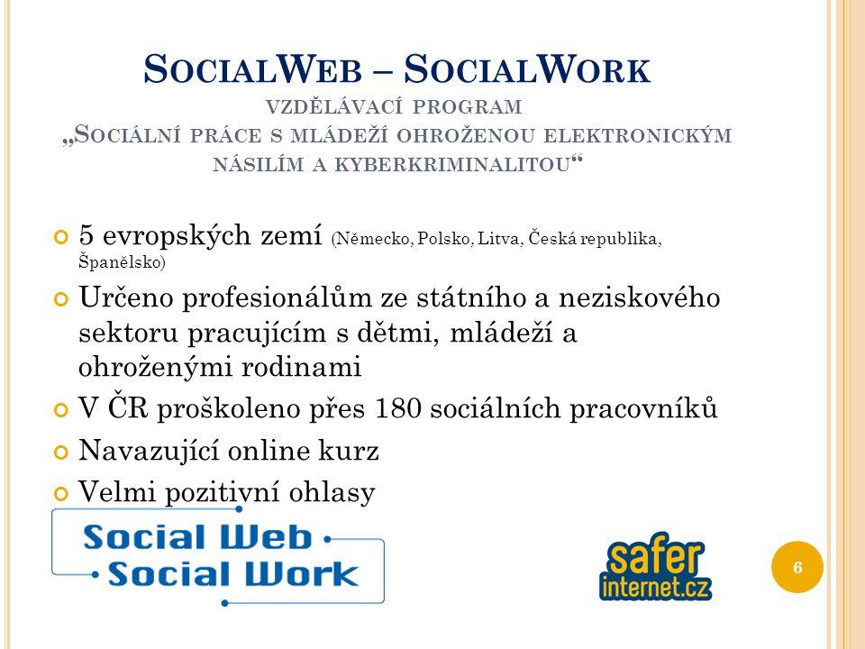 """S OCIAL W EB – S OCIAL W ORK VZDĚLÁVACÍ PROGRAM """"S OCIÁLNÍ PRÁCE S MLÁDEŽÍ OHROŽENOU ELEKTRONICKÝM NÁSILÍM A KYBERKRIMINALITOU 5 evropských zemí (Německo, Polsko, Litva, Česká republika, Španělsko) Určeno profesionálům ze státního a neziskového sektoru pracujícím s dětmi, mládeží a ohroženými rodinami V ČR proškoleno přes 180 sociálních pracovníků Navazující online kurz Velmi pozitivní ohlasy 6"""