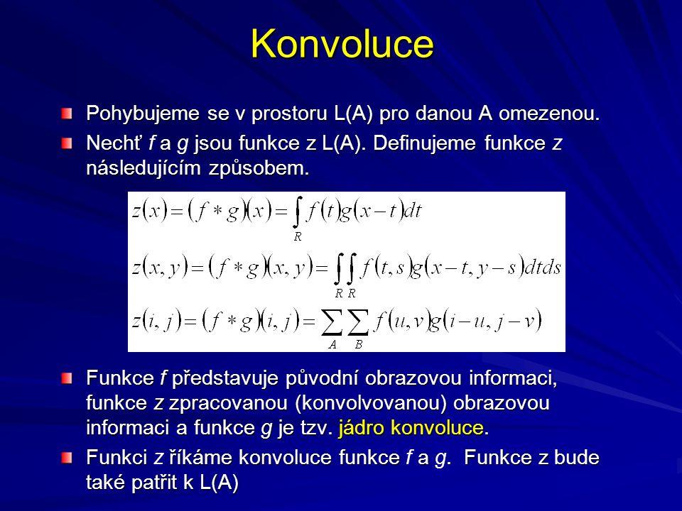 Konvoluce Pohybujeme se v prostoru L(A) pro danou A omezenou. Nechť a jsou funkce z L(A). Definujeme funkce následujícím způsobem. Nechť f a g jsou fu