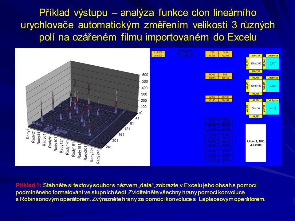 Příklad výstupu – analýza funkce clon lineárního urychlovače automatickým změřením velikosti 3 různých polí na ozářeném filmu importovaném do Excelu P