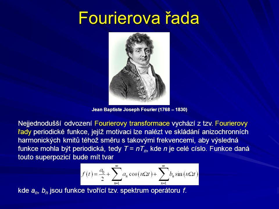 Fourierova řada Jean Baptiste Joseph Fourier (1768 – 1830) Nejjednodušší odvození Fourierovy transformace vychází z tzv. Fourierovy řady periodické fu