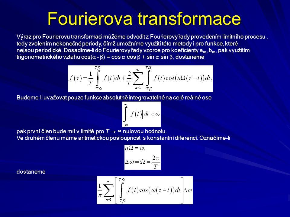 Fourierova transformace Výraz pro Fourierovu transformaci můžeme odvodit z Fourierovy řady provedením limitního procesu, tedy zvolením nekonečné periody, čímž umožníme využití této metody i pro funkce, které nejsou periodické.