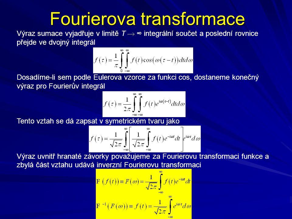 Fourierova transformace Výraz sumace vyjadřuje v limitě T  ∞ integrální součet a poslední rovnice přejde ve dvojný integrál Dosadíme-li sem podle Eulerova vzorce za funkci cos, dostaneme konečný výraz pro Fourierův integrál Tento vztah se dá zapsat v symetrickém tvaru jako Výraz uvnitř hranaté závorky považujeme za Fourierovu transformaci funkce a zbylá část vztahu udává inverzní Fourierovu transformaci