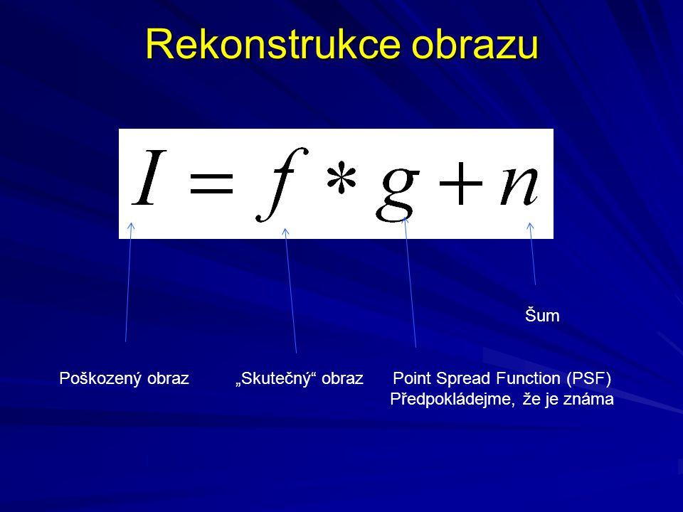 """Rekonstrukce obrazu Poškozený obraz""""Skutečný"""" obrazPoint Spread Function (PSF) Předpokládejme, že je známa Šum"""